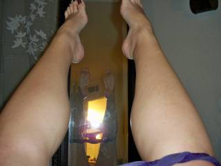 My wish is to kiss those shapely calves and lick and suck your toes.  NICE!!!