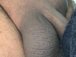 My clean shaven big black balls ready to slap your clit and pussy when I have you bent over taking my BBC!