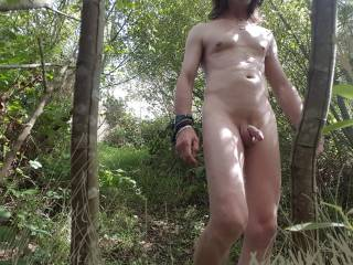 I enjoy being naked in nature,  from one of my many rambles in my local woods.