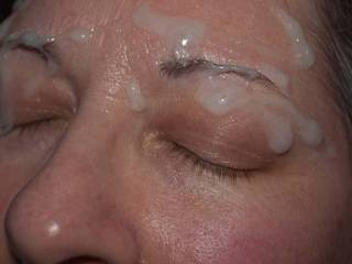1 of 3 shots: this is what happens when you are really turned on by a Lady\'s sexy eyebrows and she asks for you to cum on her face!