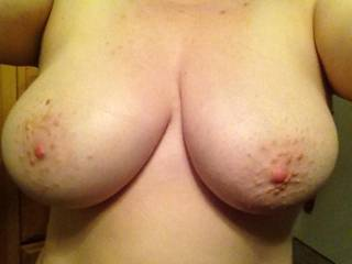 Ohhh yes! Wanna pinch them as the same time I shoot a huge cumshot over your stiff nipples!