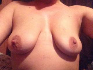 Love your beautiful tits, your big aerolas (my favorite!) and your deliciously hard nipples!!