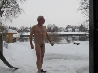 Bet you are a bit cold out there, looks like your cock has reacted and shriveled  up a little! Nice photo, would love to have been out there with you, then maybe back inside to a hot sauna