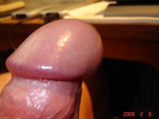 Zoiging ! Cock viewed from side, been looking at Zoig all afternoon, cock feels good, making it last !