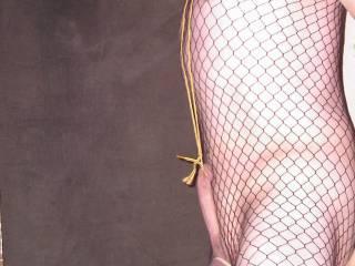 wearing fishnet stockings in the window