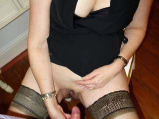Wife just about to stuff my cock into her succulent pussy