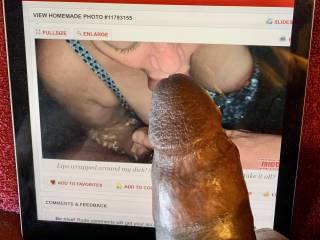 mmmm kneeling and sucking this bbc,   she has this bbc throbbing.  who wants to help me release the cum?