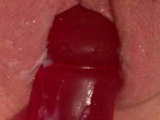 Pushing my vibrator slowly in and out, wet and dripping cum all over it... anyone want to clean it all up for me? ;)
