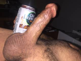 Can you tell that my balls are full?  I should have used a tall can to compare!  LOL My cock head is so full!   Blast off!!!!