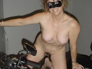 I got naked to pose on my bfs motorcycle.  Do you think I\'ll look good riding his Harley
