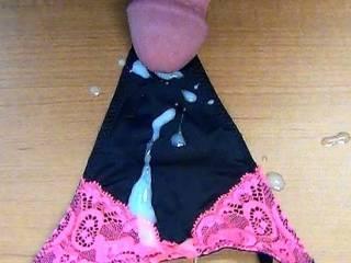 Cum all over my GF's new black panties!