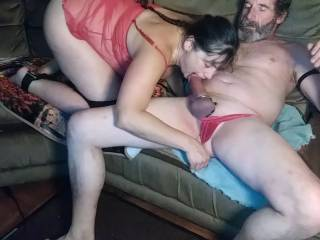 With my hand working her g spot she pulls my thong down an engulfs my cock