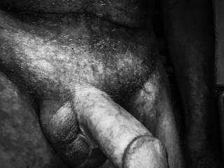 Swollen penis in black & white.
