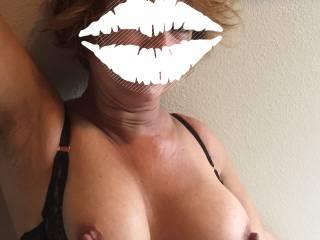 Being sexy. Wanna cum on my tits?