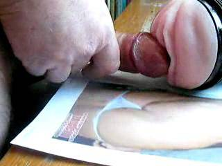 Dana (hotdana) asked me to fuck my fleshlight and cum on her. I really enjoyed thrusting into her, thinking of her nice pussy, and then a nice big cum all over her fit body. Thanks Dana! Would you like to feel my warm cum splashing over you?