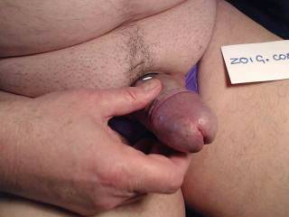 stroking my cock in a purple thong
