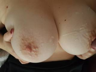 Cum all over my tits from a friend