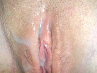 Very hot! That pussy looks great with a cream pie of hot warm cum. I would love to contribute some to that sweet pussy!
