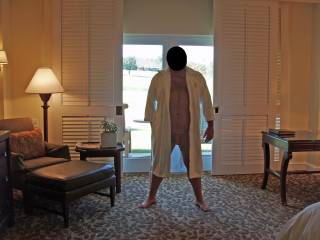 Weekend getaway at a luxury resort. Hubby patiently posing for some nude pics before I gave him a blowjob...and some pussy!  We also had 2 female observers outside that were watching very closely through the glass door!