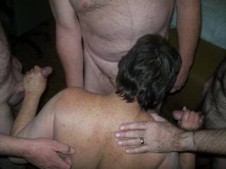 Oh yes and she is so good sucking off multiple cock's at one time she did me and hubby real good Mmmmmmmm