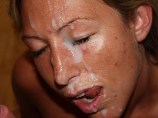 I'd like to add my cum to her face next. Great cum target. Lucky guy.