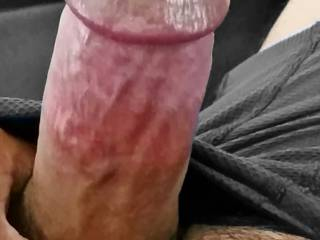 My cock popped out, he's hungry, looking to get some action.