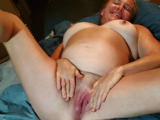 Spreading that tasty pussy for me