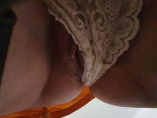 Lace panties struggle to hide my wifes perfect pussy