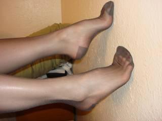 Lindsey wearing sexy black RHT stockings