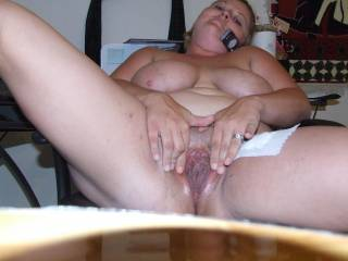 wife showing her wet pussy