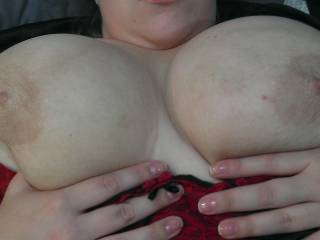 Lovely pale nipples on huge BBW titties.... Mmmm...... How would you like to my thick cock?