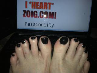 """OK the truth..I do pedicures and manicures and I wouldn't have given you the """"bruised black look."""" I still recall how fabulous your finger nails looked when you had them a gorgeous, classy dark red, so it will have to be the dark red set, hands and feet, if you ever let me do your nails...with five little white stars because you are de-luxe class."""