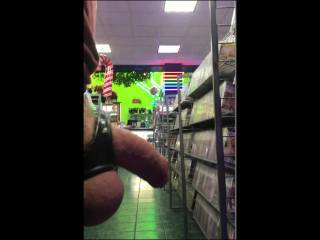 Took a stroll in a adult book store with my cock and balls hanging out.  Cum shot at the end.