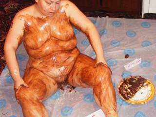 You look amazingly hot & sexy covered in all that goo.  I'd both love to splosh you with pies & cakes, smother it on you and then clean you off. More cake squashing. smothering & gooeyness please. Yum -delicious in every respect
