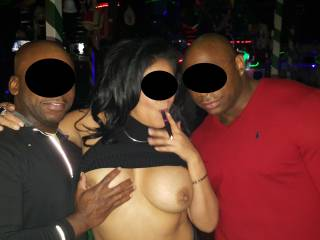 In a Vegas club with 2 bulls, about an hour after this picture, she had their cum all over her face and tits, and that was just round 1...   Any of you California guys with a big cock interested in draining your balls on her, get in touch...