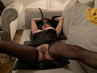 Tied up, blindfolded and in pantyhose