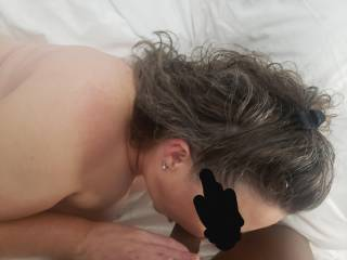 Hot Wife trying to take all that cock.
