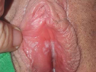 Very excited wife full of cum and ready for a hard and big cock