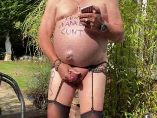 Another enjoyable wanking session in my garden looking at porn , it feels so good knowing my zoig friends can see me with my throbbing prick in my hand while I wank .