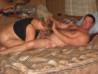 Wife sucking my cocks as they watch