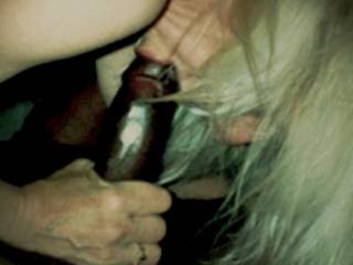 It was so hot seeing those pretty lips that I kiss all the time around his black cock.