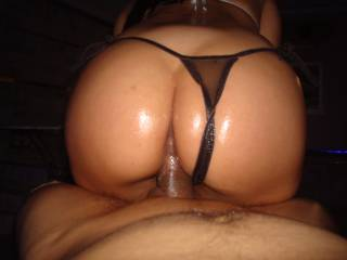 Love this pic hot ass lubed up thong pulled to the side riding a big dick in the hottest way I want my turn
