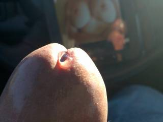 I would really enjoy watching my wife lick that precum from you with the tip of her tongue mmmmm
