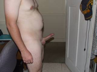 I was horny one day so I shaved my cock bald and wanted to see how erect I could get it for a photo. Can I get it more erect??