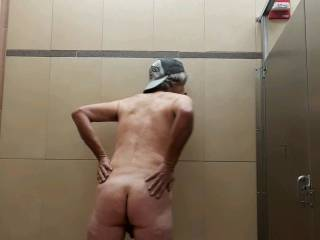 WATCHING to see if someone will enter the restroom..!  stall door latch was broke...maybe they would come into the stall!...BIG RUSH...JACKING OFF..AND WATCHING AND WAITING!!!