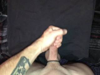 stroking my freshly shaved cock for a long cum shot