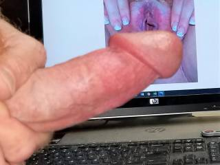Stroking my hard cock & rubbing watchingyouplay\'s tasty pink spread pussy! Love her squirt vids!
