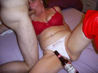 Got the beer ready for when he's cum in my mouth - Damn that after taste, nothing like a Bud to make it all better...