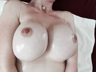 WOW! You've got the most beautiful tits! I want to squeeze em,kiss em,nibble em,lick em,suck em,fuck em and cum all over those big beauties! May I?