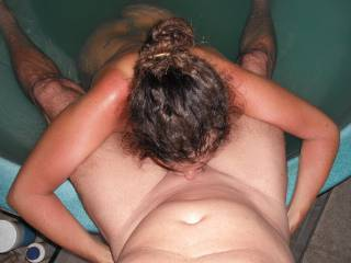 Deep throating my Hubby\'s lovely smooth thick cock in the spa at home.